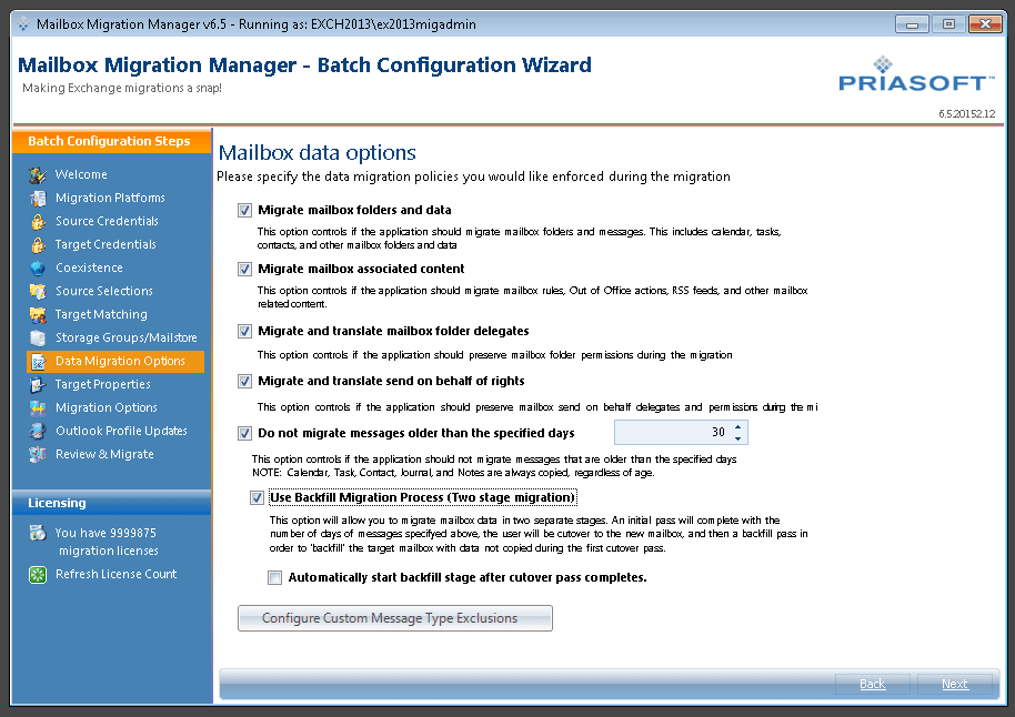 Migration Manager Console