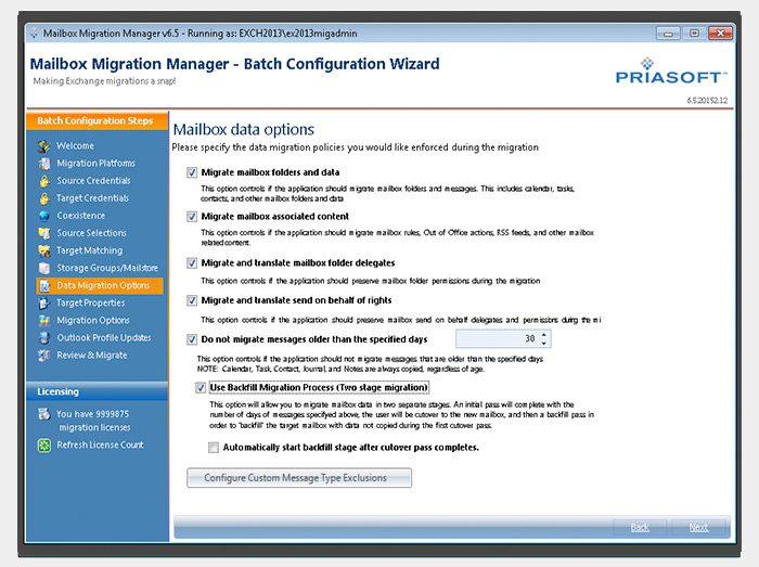 Priasoft Migration Suite for Exchange migration wizard