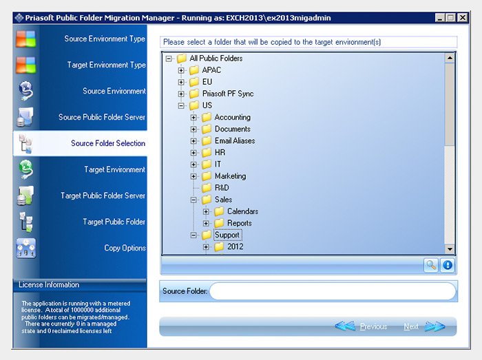 Priasoft Migration Suite for Exchange Public Folder Migration
