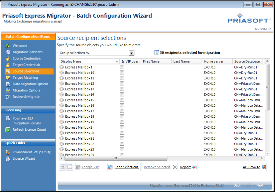 Priasoft Express Migrator tool for Office 365 and Exchange