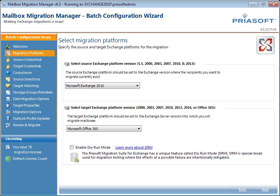 Priasoft Migration Suite For Exchange Screenshots